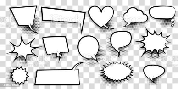 Duży Zestaw Pusty Dymek Bańka Komiks Tekst - Stockowe grafiki wektorowe i więcej obrazów Balon