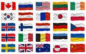 Big Set Flag Icon. National Flag Banner. Cartoon Vector illustration.
