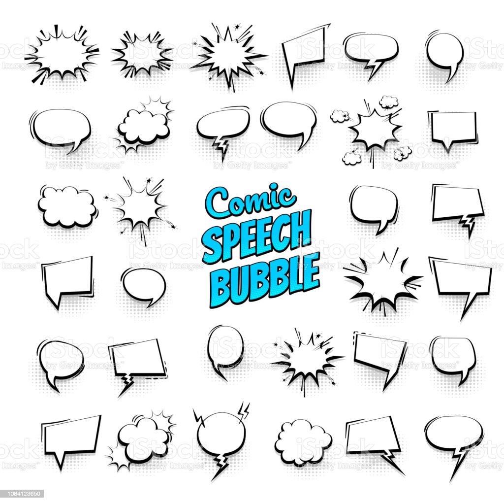 Big set hand drawn effects comic speech bubbles - Векторная графика Абстрактный роялти-фри