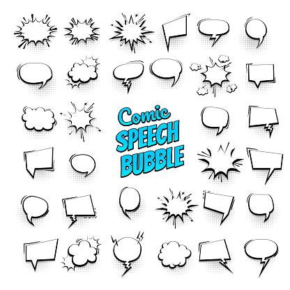 Big Set Hand Drawn Effects Comic Speech Bubbles — стоковая векторная графика и другие изображения на тему Абстрактный