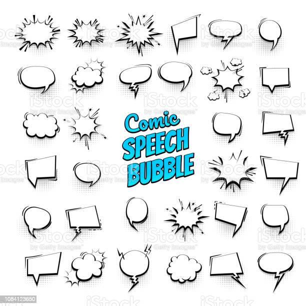 Big Set Hand Drawn Effects Comic Speech Bubbles - Stockowe grafiki wektorowe i więcej obrazów Abstrakcja