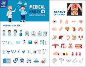 Big Set Icons Medical and Organs. Doctors talk to patients. Vector flat design. Health care concept illustration. Infographic elements. Isolated on white background.