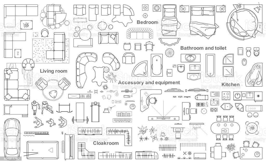 Big set icons of furniture for architecture plan. vector art illustration