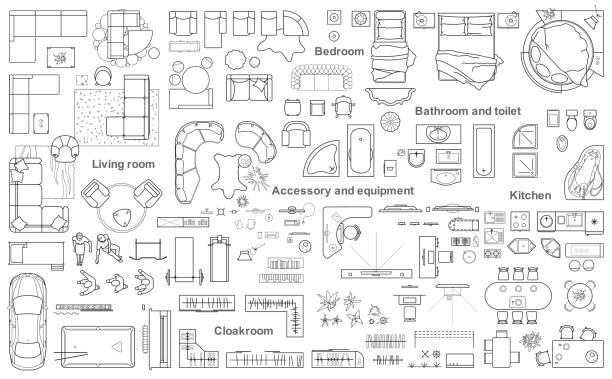big set icons of furniture for architecture plan. - architecture symbols stock illustrations