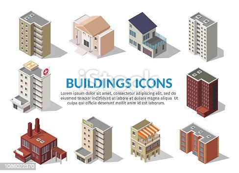 Big set low poly vectors of isometric illustration city street house facades, factory, cafe, school, hospital, gas station, bank.