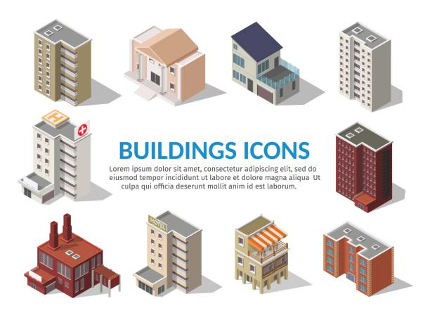 big set low poly vectors of isometric illustration city street house facades, factory, cafe, school, hospital, gas station, bank. - architecture clipart stock illustrations