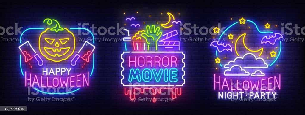 Big Set Neon Billboard Theme Happy Halloween Greeting Card Halloween