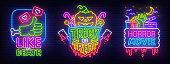 Big set neon billboard, theme Happy Halloween. Greeting card Halloween. Horror Movie, Night sky, moon, bat and angry Pumpkin. Neon sign, isolated sticker, bright signboard, light banner