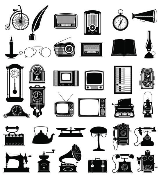 ilustrações, clipart, desenhos animados e ícones de ilustração do vetor ícones vintage velho de grande conjunto de objetos retrô - antiguidades