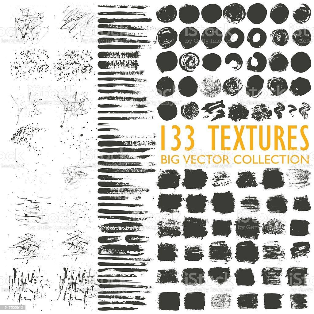 Big set of 133 grungy artistic textures. vector art illustration