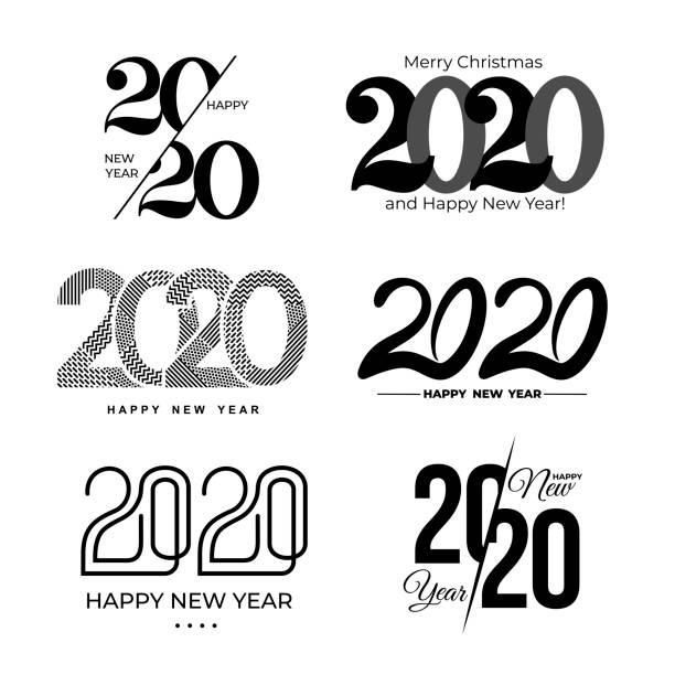 ilustraciones, imágenes clip art, dibujos animados e iconos de stock de gran conjunto de patrón de diseño de texto 2020. colección de logotipos 2020 feliz año nuevo y felices fiestas. ilustración vectorial. aislado sobre fondo blanco. - calendario abstracto