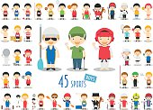 Big Set of 45 cute cartoon sport characters for kids.
