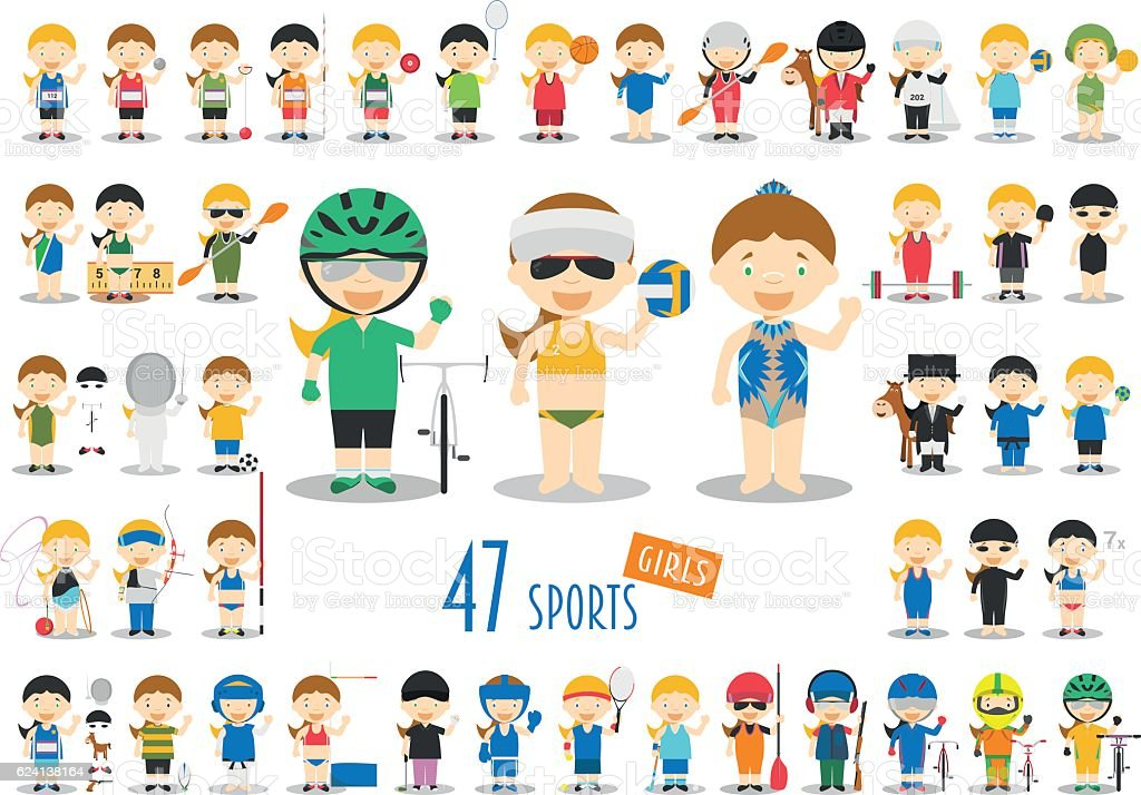 Big Set of 47 cute cartoon sport characters for kids. - Illustration vectorielle