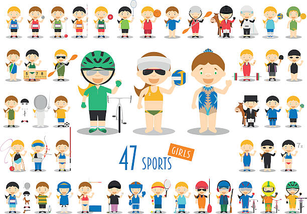 ilustraciones, imágenes clip art, dibujos animados e iconos de stock de big set of 47 cute cartoon sport characters for kids. - bádminton deporte