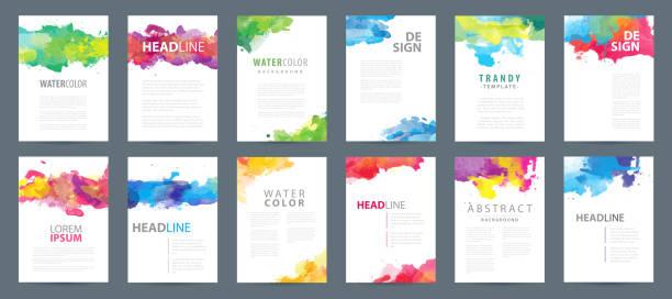 duży zestaw akcesory kolorowych szablonów tła akwarela a4 - kolory stock illustrations