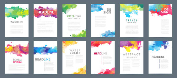Big set of A4 vector colorful watercolor background templates Big set of A4 bright vector colorful watercolor background templates for poster, brochure or flyer art stock illustrations
