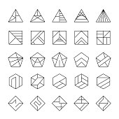 Big set of abstract hipster logos in modern linear style.
