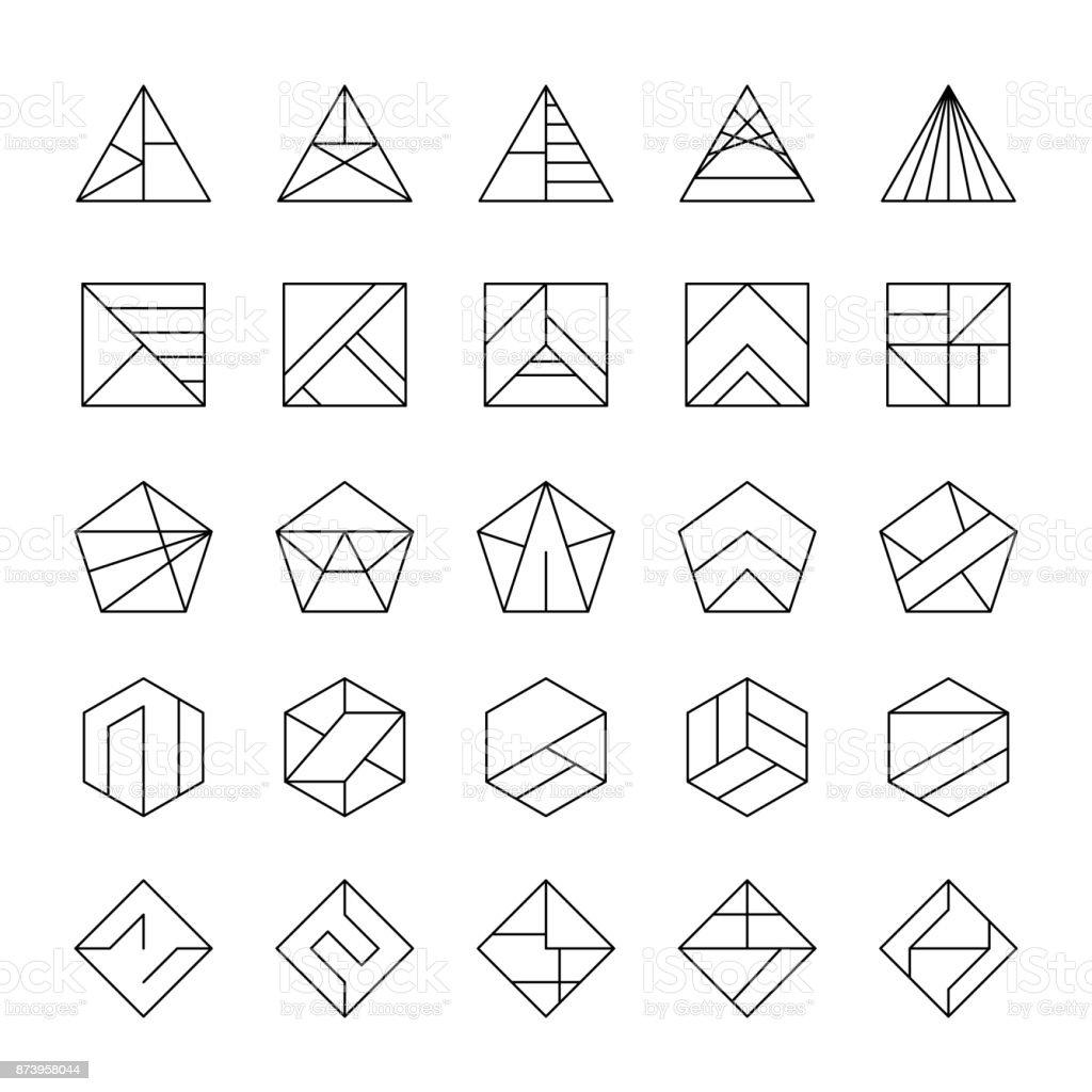Große Reihe von abstrakten Hipster-Logos in modernen linearen Stil. – Vektorgrafik