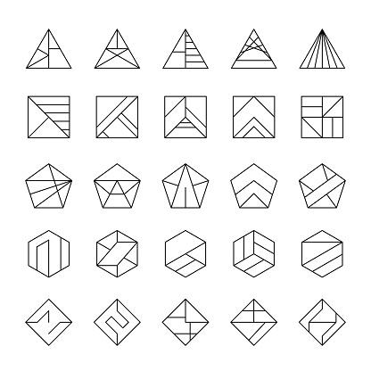 Grand Ensemble De Logos Hipster Abstraite Moderne Style Linéaire Vecteurs libres de droits et plus d'images vectorielles de A la mode