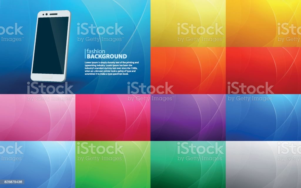 Big set of abstract horizontal backgrounds of curved lines. Isolated white smartphone with a realistic shadow. vector art illustration