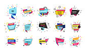 Big set of advertising stickers, banners, labels, discounts, promotions, special offers, sale. Super discounts, black friday, promotions, logo template. Vector illustration.