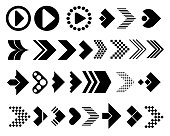 Big set of arrows vector icons. Arrows in different directions. Modern simple arrows. Vector illustration