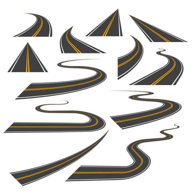 große reihe von asphalt straße kurven, kurven, hattest und perspektiven. - road stock-grafiken, -clipart, -cartoons und -symbole