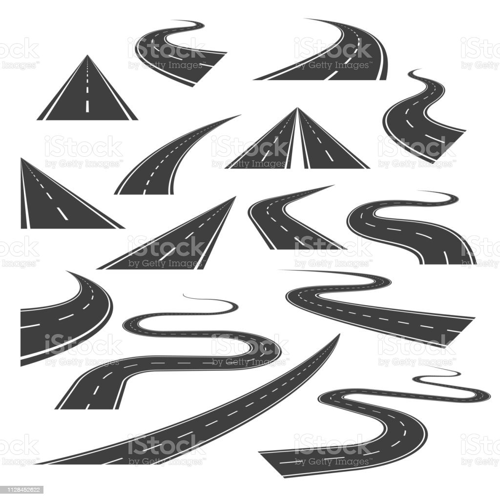 Big set of asphalt road curves, turns, bankings, and perspectives. - arte vettoriale royalty-free di Asfalto