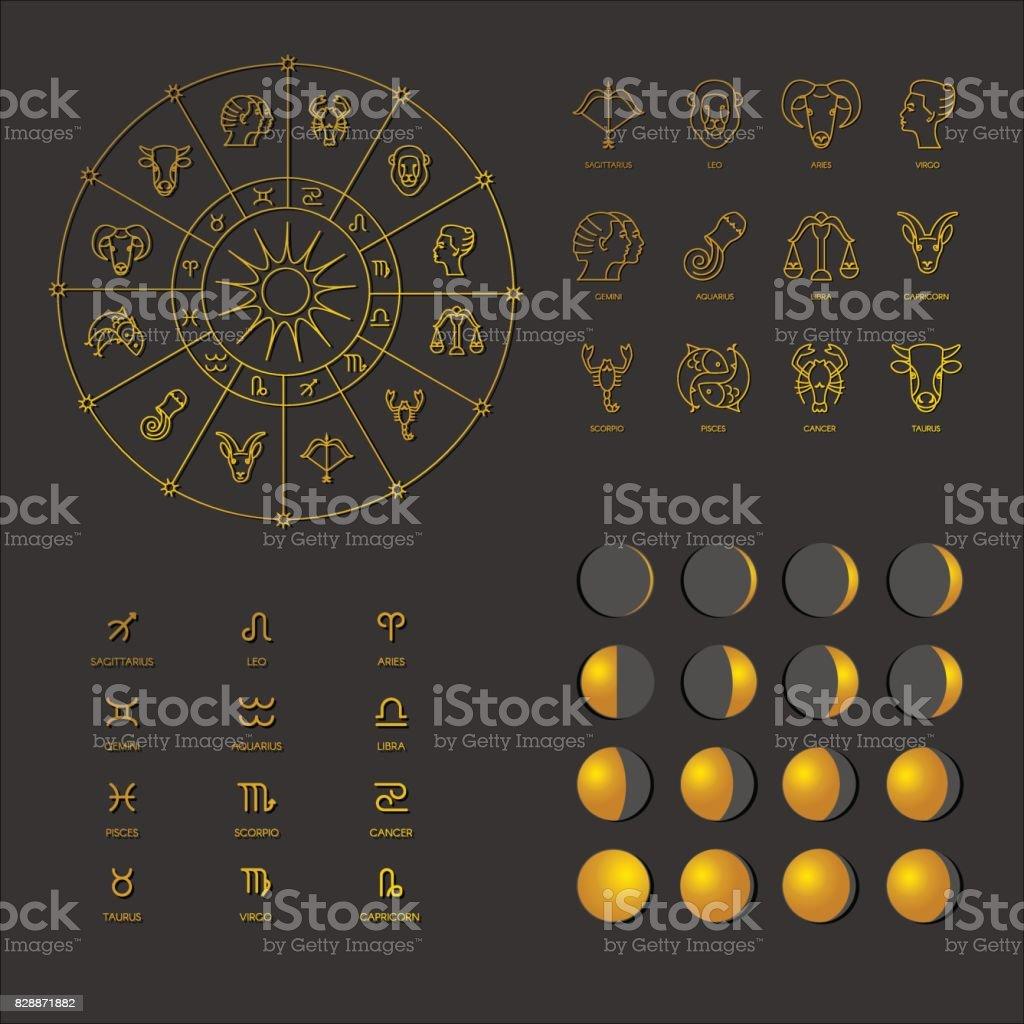 Big set of astrological symbols vector art illustration