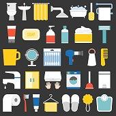 big set of bathroom item and facilities icon