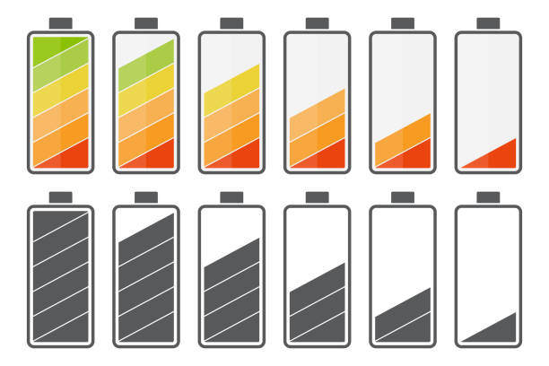 Big set of battery charge icons in a flat design Big set of battery charge icons in a flat design mississauga stock illustrations