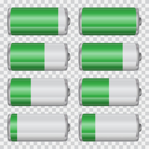 Big set of battery charge indicators on a transparent background Big set of battery charge indicators on a transparent background mississauga stock illustrations