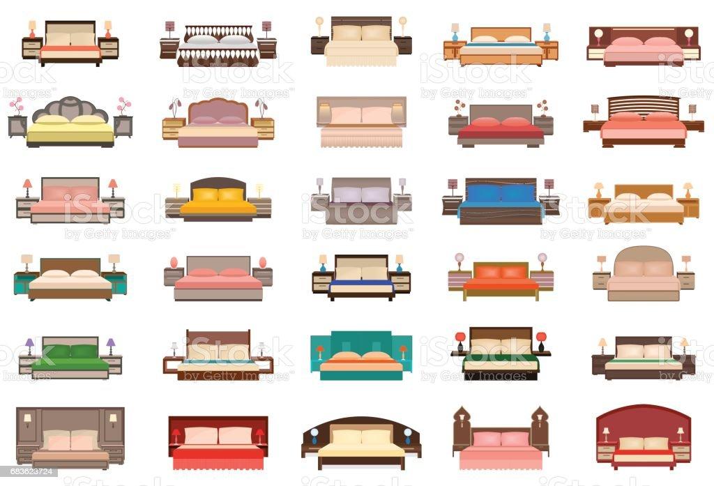 Große Reihe Von Betten Mit Nachttischen Lampen Und Kopfteile