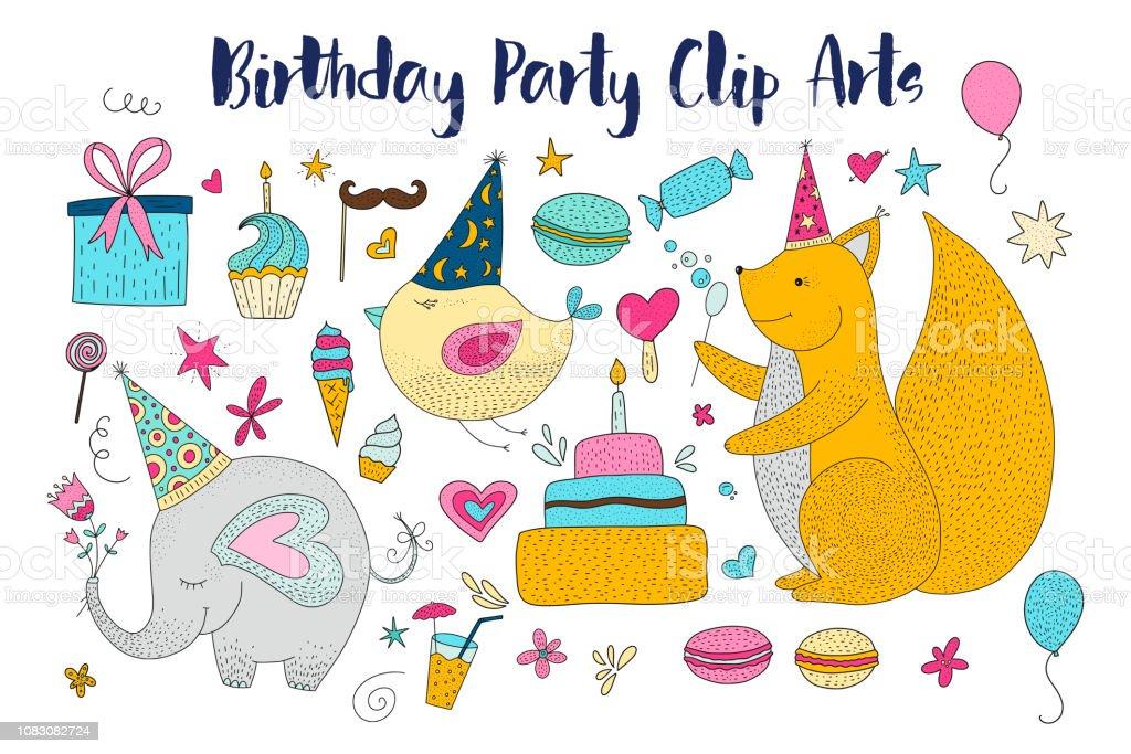 大きな誕生日パーティー ベクトル クリップ アートをセットします