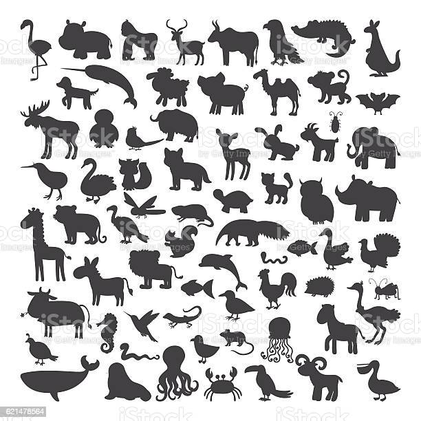Big set of black animals silhouettes in cartoon style wild vector id621478564?b=1&k=6&m=621478564&s=612x612&h=osui9vfhpnoiehxq7cemnqie6urcrnfl5jlptawb ji=