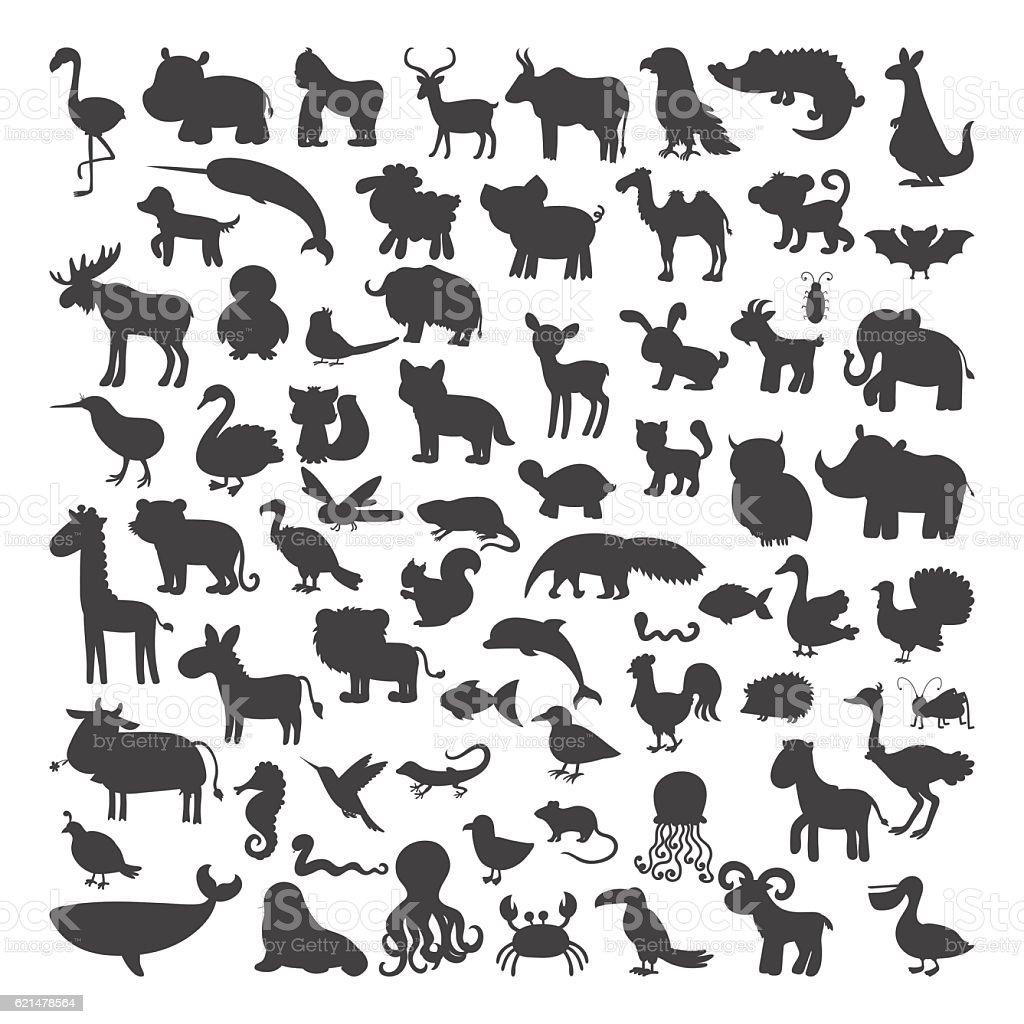 Big set of black animals silhouettes in cartoon style. Wild vector art illustration