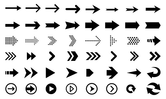 big set of black arrows and direction pointers