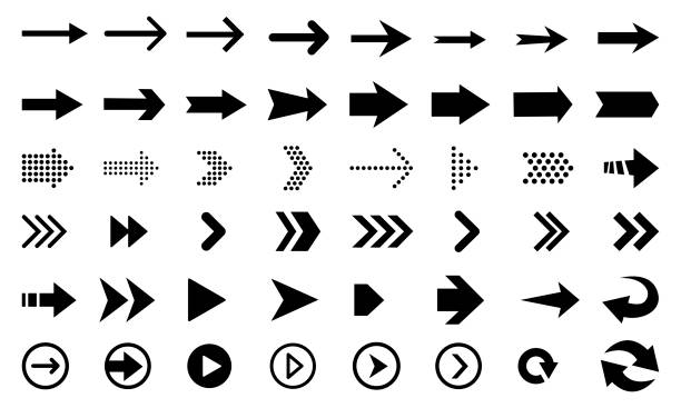 big set of black arrows and direction pointers - arrows stock illustrations