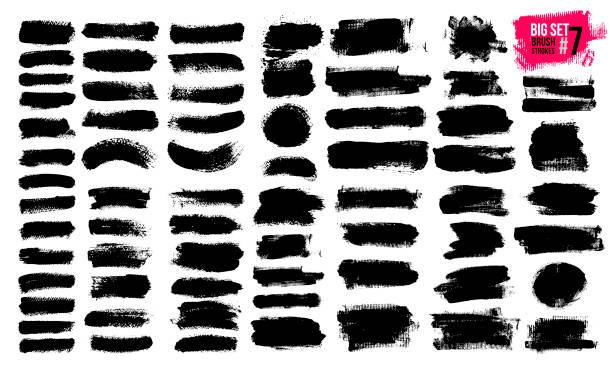 duży zestaw czarnych pociągnięć pędzla, farby, atramentu, grunge, pędzle, linie. brudne elementy artystyczne, pudełka, ramki. rysunek odręczny. ilustracja wektorowa. izolowane na białym tle. - farba stock illustrations