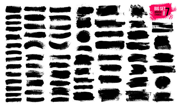 big set of black brush strokes, paint, ink, grunge, brushes, lines. dirty artistic elements, boxes, frames. freehand drawing. vector illustration. isolated on white background. - szczotkować stock illustrations