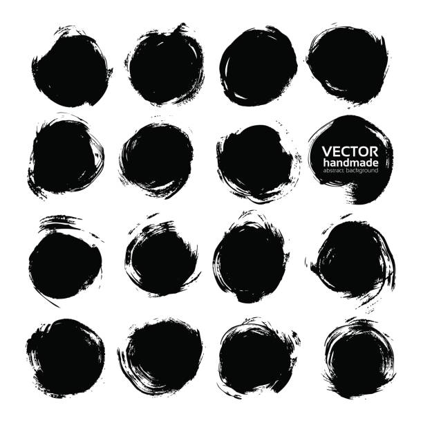 stockillustraties, clipart, cartoons en iconen met grote reeks van zwarte ronde abstracte achtergronden uitstrijkjes vectorobjecten geïsoleerd op een witte achtergrond - stamppot