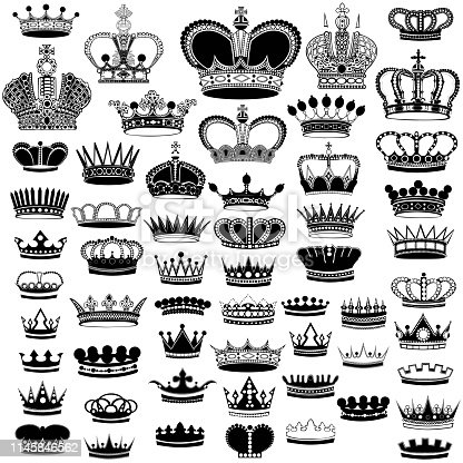 big set of black silhouettes crowns on white