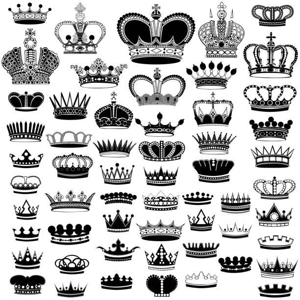 黑色剪影冠在白色的大集合 - 皇冠 頭飾 幅插畫檔、美工圖案、卡通及圖標