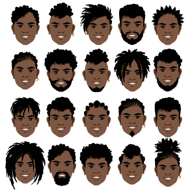 big set of black smiling  men's faces with dreadlocks, beards and mustache . - kręcone włosy stock illustrations
