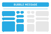 Big set of blue and gray message bubbles design template for messenger chat. Vector Illustrations.