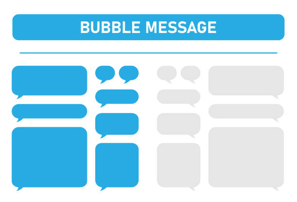 Big set of blue and gray message bubbles design template for messenger chat. Vector Illustrations. Big set of blue and gray message bubbles design template for messenger chat. Vector Illustrations. living organism part stock illustrations