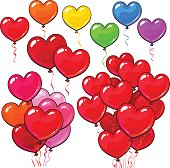 Big set of bright and colorful heart shaped balloons, set of various arrangements, cartoon vector illustration isolated on white background. Multicolored heart balloons, party decoration elements