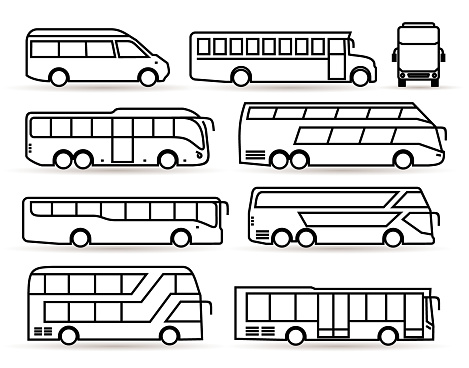 Big set of bus icon. Transport symbol black in linear style. Vector illustration. Isolated on white background.