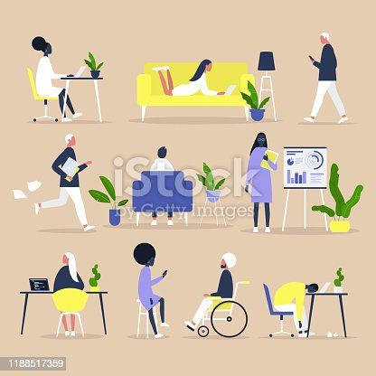 Big set of business people and Office situations, Millennials at work,  Inclusive team of specialists of different ethnicities
