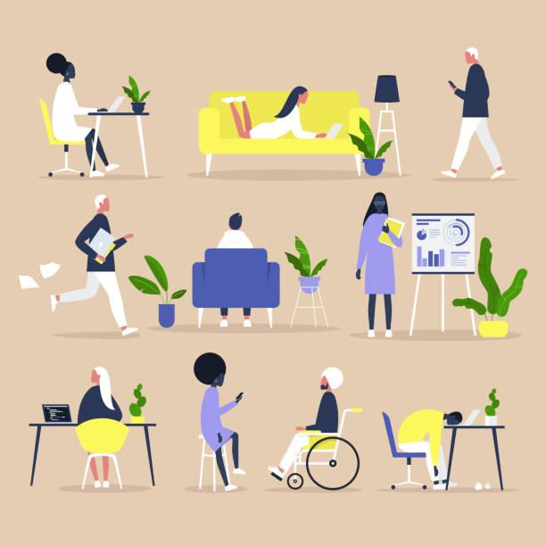 stockillustraties, clipart, cartoons en iconen met grote set zakenmensen en kantoor situaties, millennials op het werk, inclusief team van specialisten van verschillende etniciteiten - all vocabulary